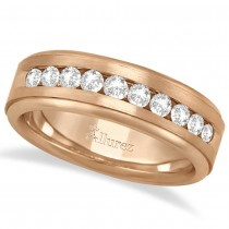Men's Channel Set Diamond Ring Wedding Band 14k Rose Gold (0.25ct)