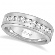 Men's Channel Set Diamond Ring Wedding Band 14k White Gold (0.25ct)
