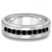 Men's Channel Set Black Diamond Wedding Ring 14k White Gold (0.25ct)