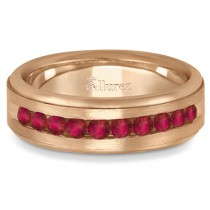 Men's Channel Set Ruby Ring Wedding Band 14k Rose Gold (0.25ct)
