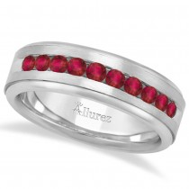 Men's Channel Set Ruby Ring Wedding Band 14k White Gold (0.25ct)