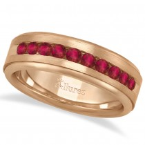 Men's Channel Set Ruby Ring Wedding Band 18k Rose Gold (0.25ct)