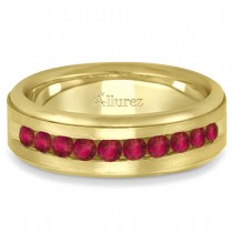 Men's Channel Set Ruby Ring Wedding Band 18k Yellow Gold (0.25ct)