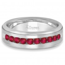 Men's Channel Set Ruby Ring Wedding Band in Platinum (0.25ct)