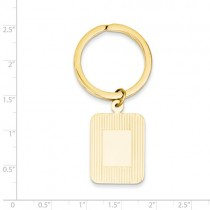 Rectangle Disc Key Ring Plain Metal 14k Yellow Gold