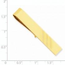 Engraved Striped Design Tie Bar Clip Plain Metal 14k Yellow Gold