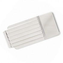 Striped Design Money Clip Plain Metal 14k White Gold