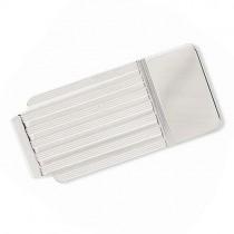 Striped Design Money Clip Plain Metal 14k White Gold