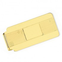 Striped Design Money Clip Plain Metal 14k Yellow Gold