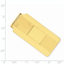 Striped Design Money Clip Plain Metal 14k Yellow Gold