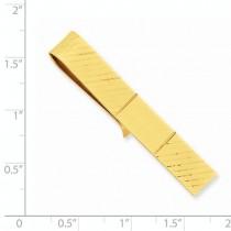 Striped Design Tie Bar Clip Plain Metal 14k Yellow Gold