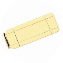 Boxed Design Money Clip Plain Metal 14k Yellow Gold