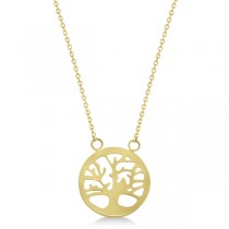 Family Tree of Life Necklace Pendant 14k Yellow Gold