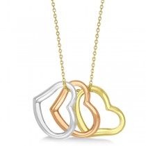 Tri Color Dangling Heart Pendant Necklace in 14k Gold