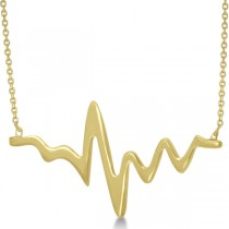 Adjustable Heartbeat Pendant Necklace in 14k Yellow Gold