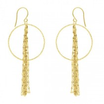 Hammered Forzentina Chain Fringe Drop Hoop Earrings 14k Yellow Gold