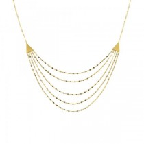 Pyramid Hammered Forzentina Chain Layered Bib Necklace 14k Yellow Gold