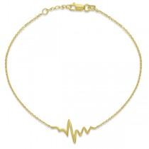 Adjustable Heartbeat Bracelet in 14k Yellow Gold|escape