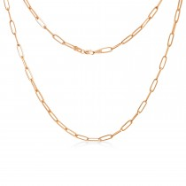 Flat Wire Long Link Forzentina Chain Necklace Rose Vermeil