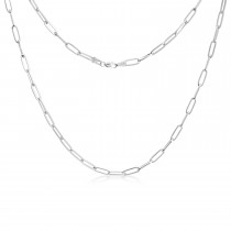 Flat Wire Long Link Forzentina Chain Necklace White Vermeil