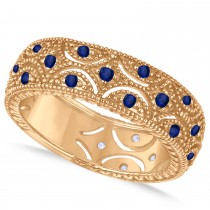 Blue Sapphire Milgrain Vintage Eternity Band 14k Rose Gold (0.38ct)