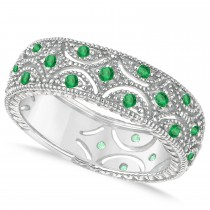 Emerald Milgrain Vintage Eternity Band 14k White Gold (0.38ct)