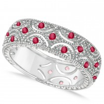 Ruby Milgrain Vintage Eternity Band 14k White Gold (0.38ct)