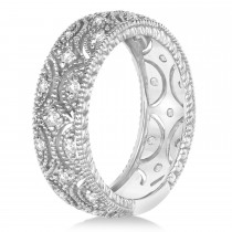 Diamond Milgrain Vintage Eternity Band 14k White Gold (0.34ct)|escape