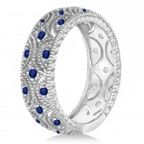 Blue Sapphire Milgrain Vintage Eternity Band 14k White Gold (0.38ct)