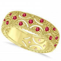 Ruby Milgrain Vintage Eternity Band 14k Yellow Gold (0.38ct)