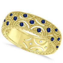 Blue Sapphire Milgrain Vintage Eternity Band 14k Yellow Gold (0.38ct)