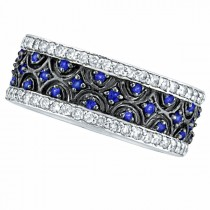 Blue Sapphire and Diamond Eternity Band 14k White Gold (1.23ct)