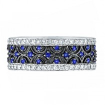 Blue Sapphire and Diamond Eternity Band 14k White Gold (1.23ct)|escape