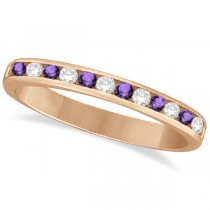 Amethyst & Diamond Semi-Eternity Channel Ring 14k Rose Gold (0.40ct)