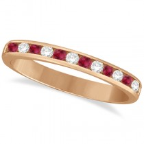 Ruby & Diamond Semi-Eternity Channel Ring 14k Rose Gold (0.40ct)