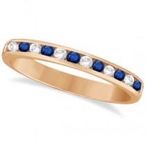 Channel-Set Blue Sapphire & Diamond Ring 14k Rose Gold (0.40ct)