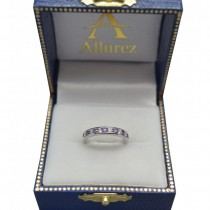 Amethyst & Diamond Semi-Eternity Channel Ring 14k White Gold (0.40ct)