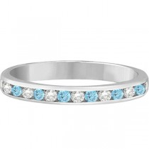 Aquamarine & Diamond Semi-Eternity Channel Ring 14k White Gold (0.40ct)|escape