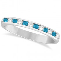 Blue Topaz & Diamond Semi-Eternity Channel Ring 14k White Gold (0.40ct)