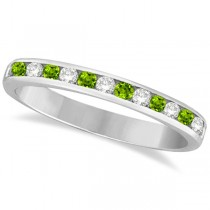 Peridot & Diamond Semi-Eternity Channel Ring 14k White Gold (0.40ct)