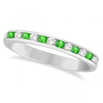 Channel-Set Tsavorite & Diamond Ring Band 14k White Gold (0.40ctw)