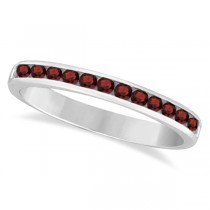 Garnet Channel-Set Semi-Eternity Ring Band 14k White Gold (0.40ct)