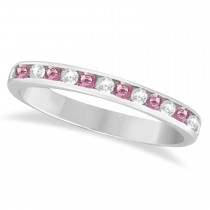 Channel-Set Pink & White Diamond Ring 14k White Gold (0.33ct)