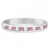 Channel-Set Pink & White Diamond Ring 14k White Gold (0.33ct)