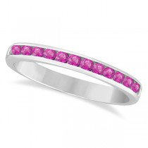 Channel-Set Pink Sapphire Stackable Ring 14k White Gold (0.40ct)