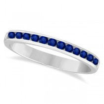 Channel-Set Blue Sapphire Stackable Ring 14k White Gold (0.40ct)