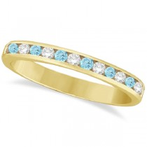 Aquamarine & Diamond Semi-Eternity Channel Ring 14k Yellow Gold (0.40ct)