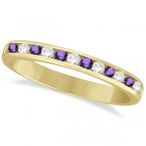 Amethyst & Diamond Semi-Eternity Channel Ring 14k Yellow Gold (0.40ct)