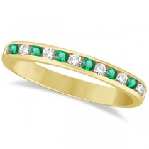 Channel-Set Emerald & Diamond Ring Band 14k Yellow Gold (0.40ctw)