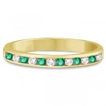 Channel-Set Emerald & Diamond Ring Band 14k Yellow Gold (0.40ctw)